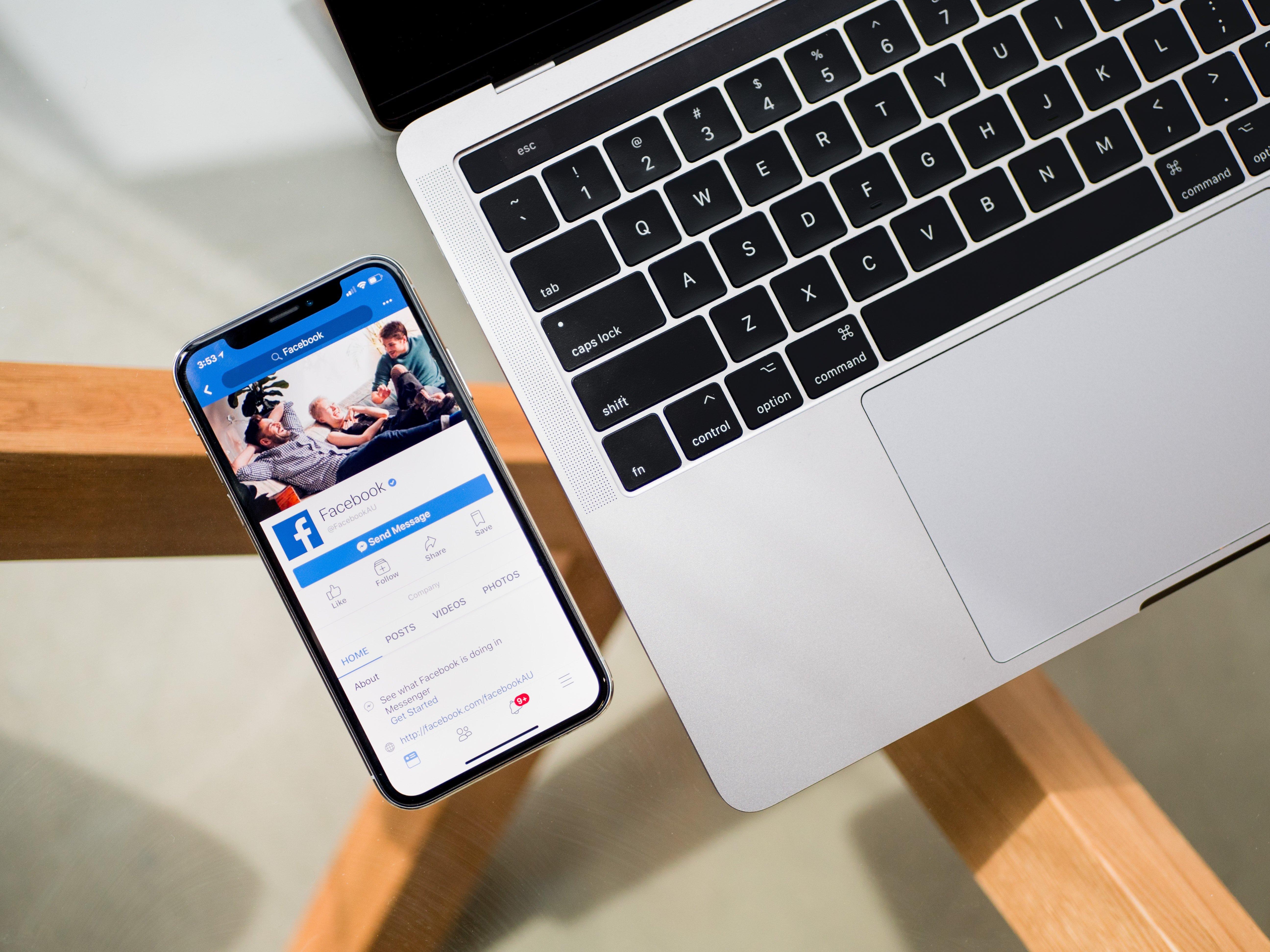 mobile facebook laptop